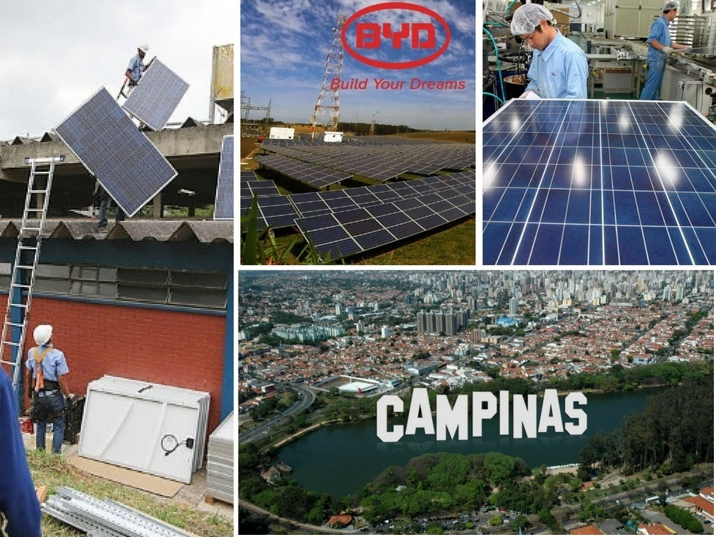 painéis solares na cidade de Campinas