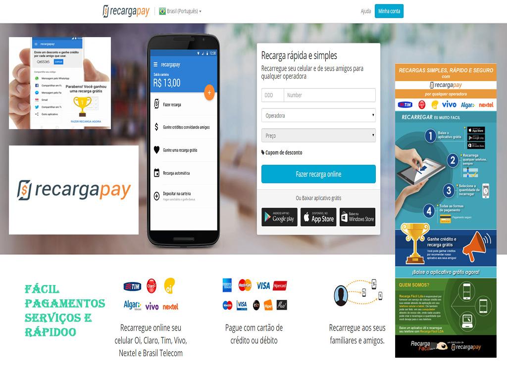 Fácil e pagamentos rápidos Serviços com Recargapay