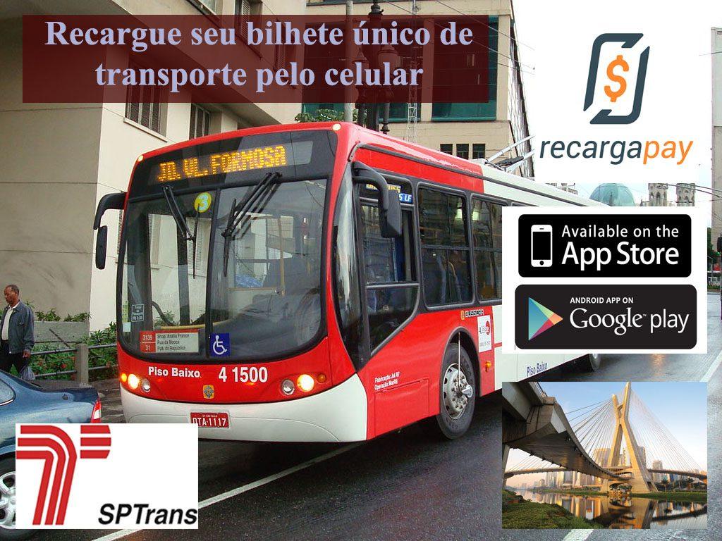 Use o novo aplicativo celular para recarregar seu bilhete único de transporte na cidade de São Paulo