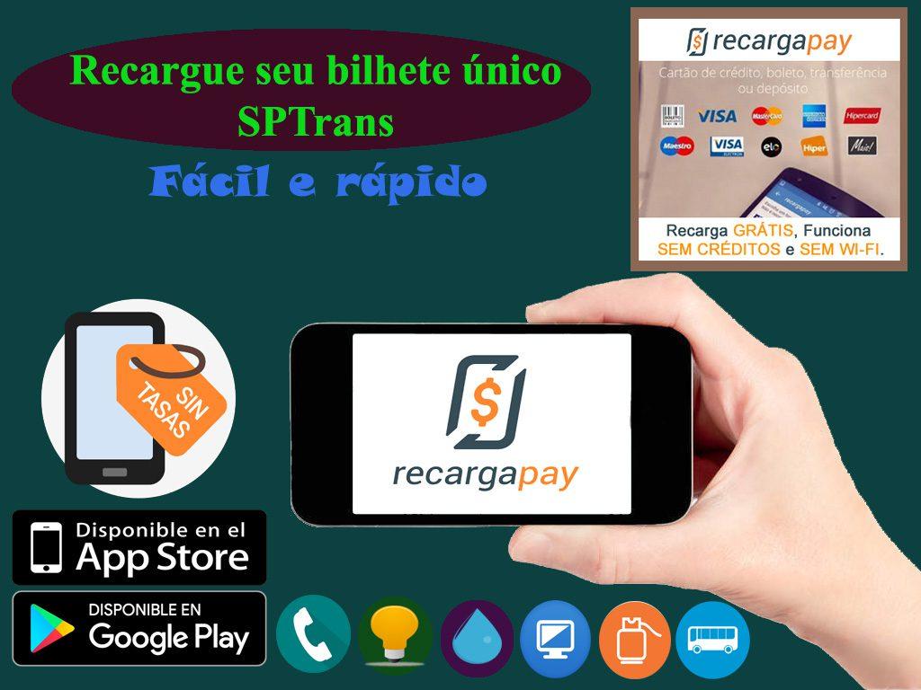 Use o aplicativo celular para recarregar seu bilhete único de transporte na cidade de São Paulo