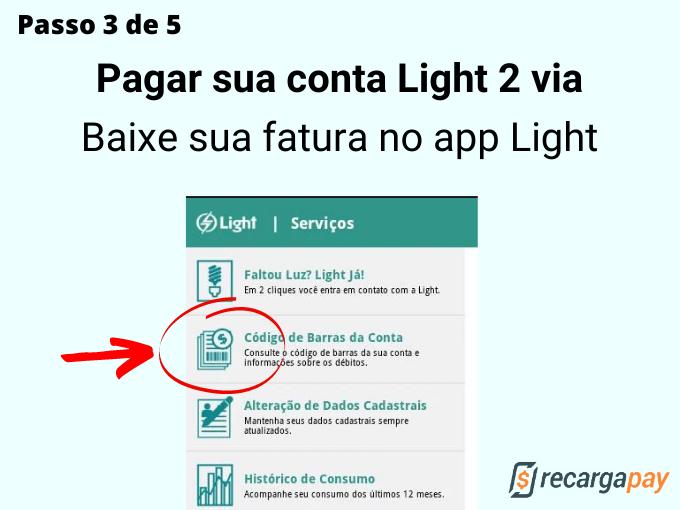 Passo 3 de 5 para Pagar sua conta Light 2 via
