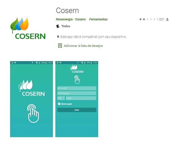 Baixe o app oficial de Cosern